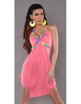 Poletna obleka Nadia, koralna
