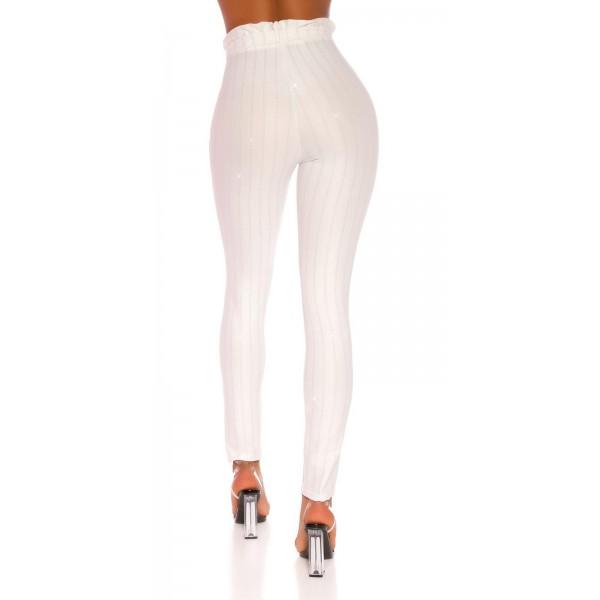 Elastične hlače s črtami iz bleščic, več barv