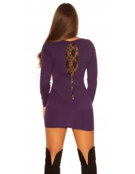 Puloverček Black lace,  temno vijola