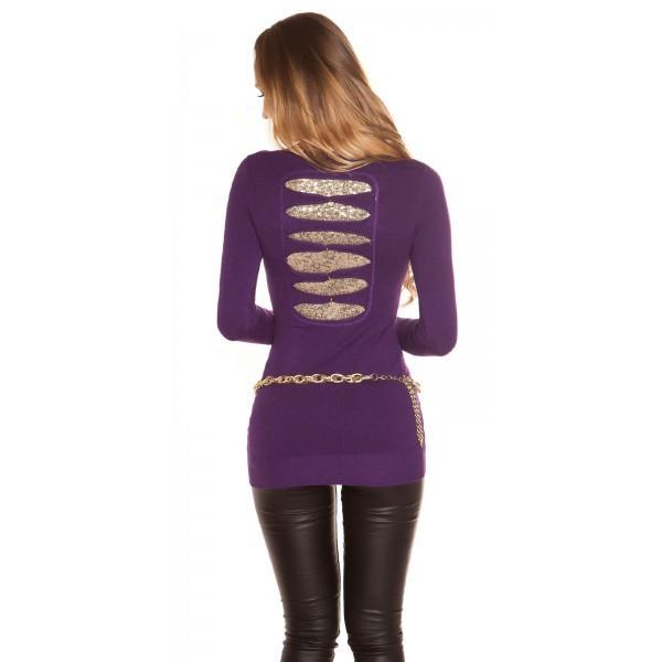 Daljši pulover z bleščicami na hrbtu, več barv