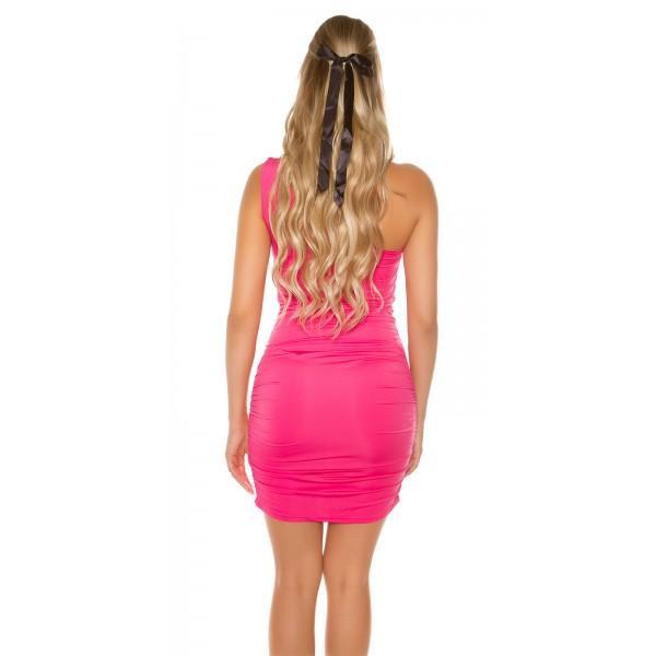 Oblekica z eno naramnico, z okrasno sponko na dekolteju, pinki
