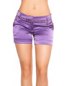 Kratke hlače v videzu satena, vijolične