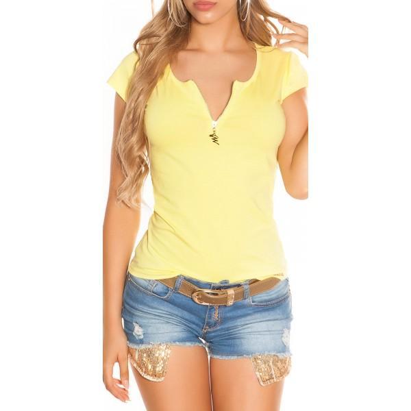 Majica T-shirt z okrasno zadrgo zadaj, več barv