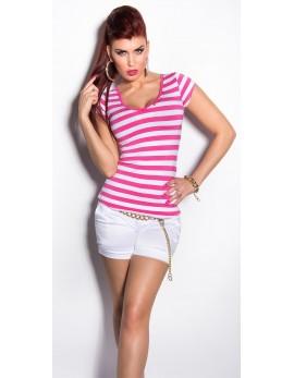Majica T-shirt strips, fuksija/bela