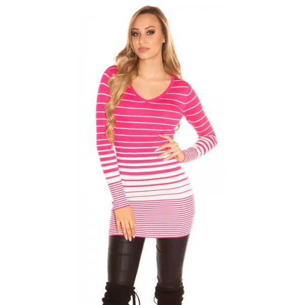 Dolg pulover Nikica s črtami, več barv