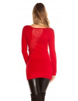 Dolg pulover s čipko postrani, več barv