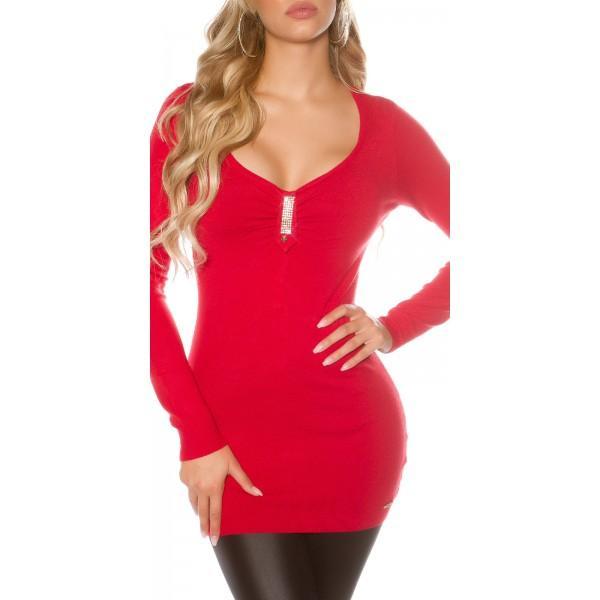Daljši pulover z verigo iz bleščic rdeč*