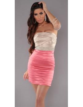 Obleka Pastela, bež-koralna kombinacija