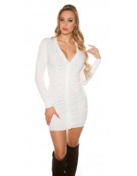 Obleka Miranda z gumbi, bela
