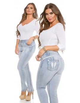 PUSH UP Jeans White Angel PLUS, velikost 48 + darilo termo legice črne velikost XXXL
