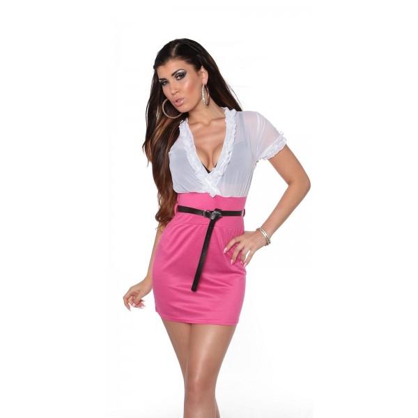 Obleka Lana, belo-roza