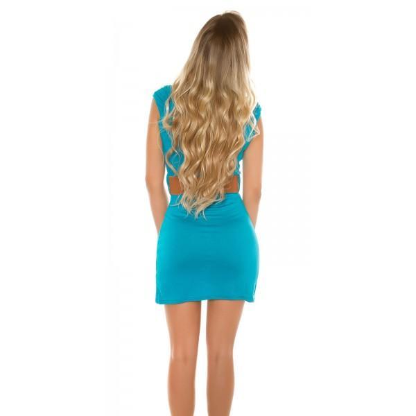 Obleka Marjeta s pasom, barva safir