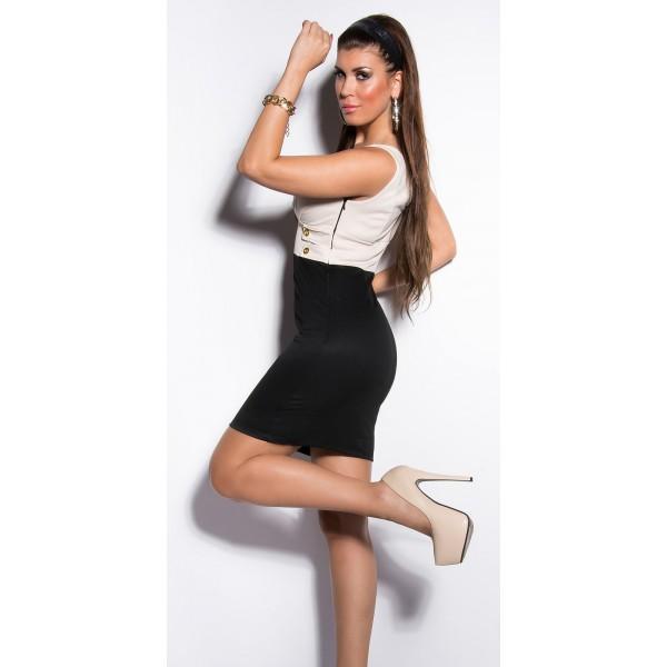 Obleka Doris, bež-črna kombinacija