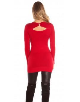 Dolg pulover Manya, rdeč