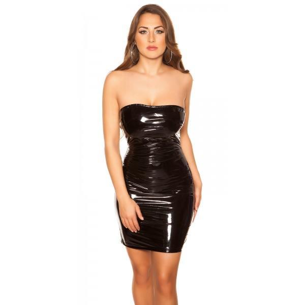 Črna obleka Wet look, velikost M