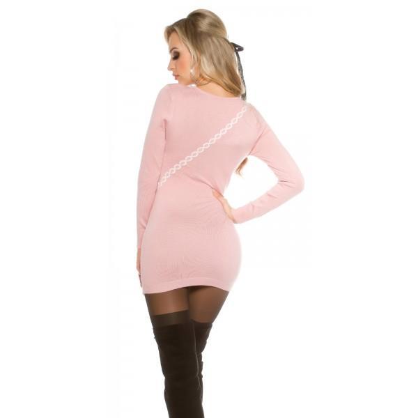 Daljši pulover s torbico, antično roza