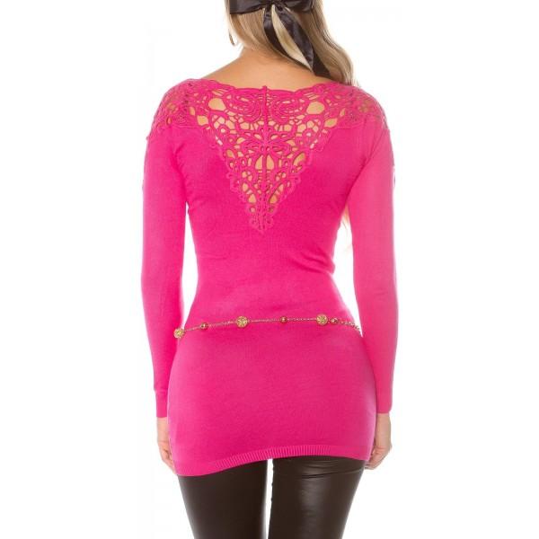 Dolg pulover z vezenino na hrbtu, več barv