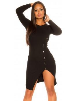 Obleka Mora s preklopom, črna