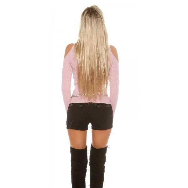 Svetlikajoč pulover z odprtimi rameni, Luri, več barv