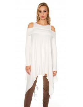 Asimetrična oblekica v beli barvi