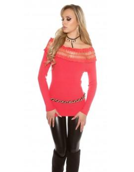 Puloverček Sandra, koralna barva