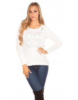 Majica z dolgimi rokavi 86, bela
