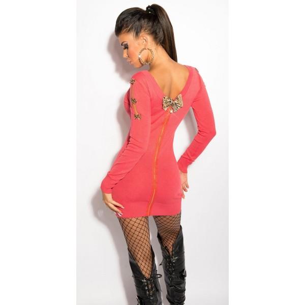 Obleka Neli, z zadrgo in pentljicami, več barv