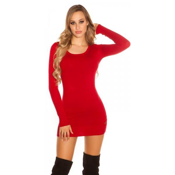 Dolg pulover Levi, rdeč