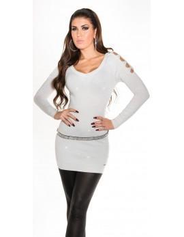 Svetlikajoč pulover Blink, bel