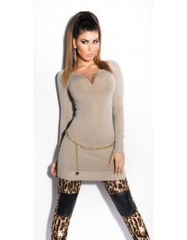 Dolg pulover Irris, cappucino