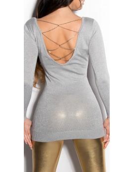 Svetlikajoč pulover Suzana, srebrn