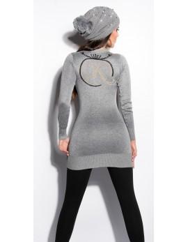 Daljši pulover z V izrezom Koucila, siv