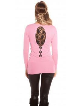 Puloverček Pink and black lace