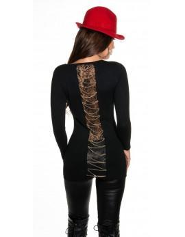Daljši pulover Chains, črn