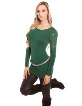 Pulover s čipko na ramenih, zelen