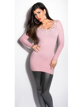 Dolg pulover Ines, antično roza