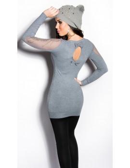 Dolg pulover Mina, siv