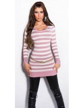 Dolg pulover Črte, antično roza
