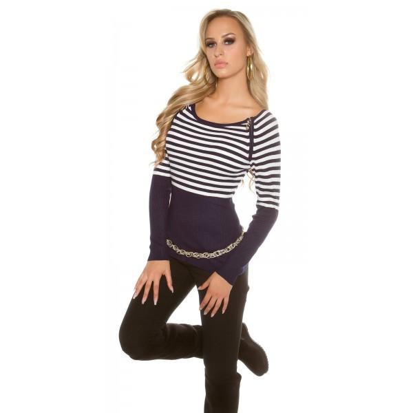 Rebrast pulover s črtami in zadrgama