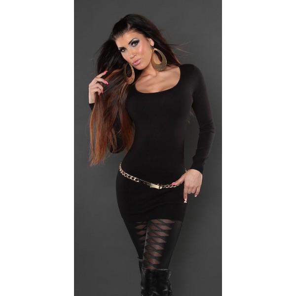 Daljši pulover Lili, črn 8078