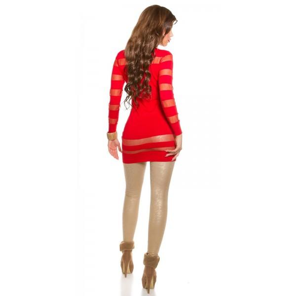 Dolg pulover s prosojnimi progami, več barv
