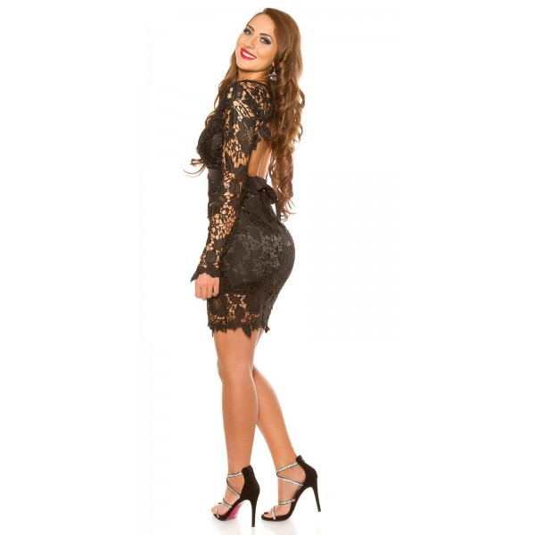 Obleka s čipko Gloria, črna