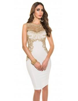 Obleka Dolores, umazano bela z zlato čipko, velikost S