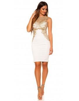 Obleka Dolores, bela z zlato čipko, velikost S
